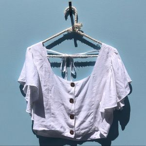 NWT Charlie Holiday White Flutter Sleeve Blouse